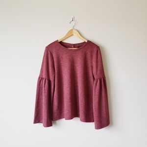 Lucky Brand Soft Bell Sleeve Sweater Muted Red